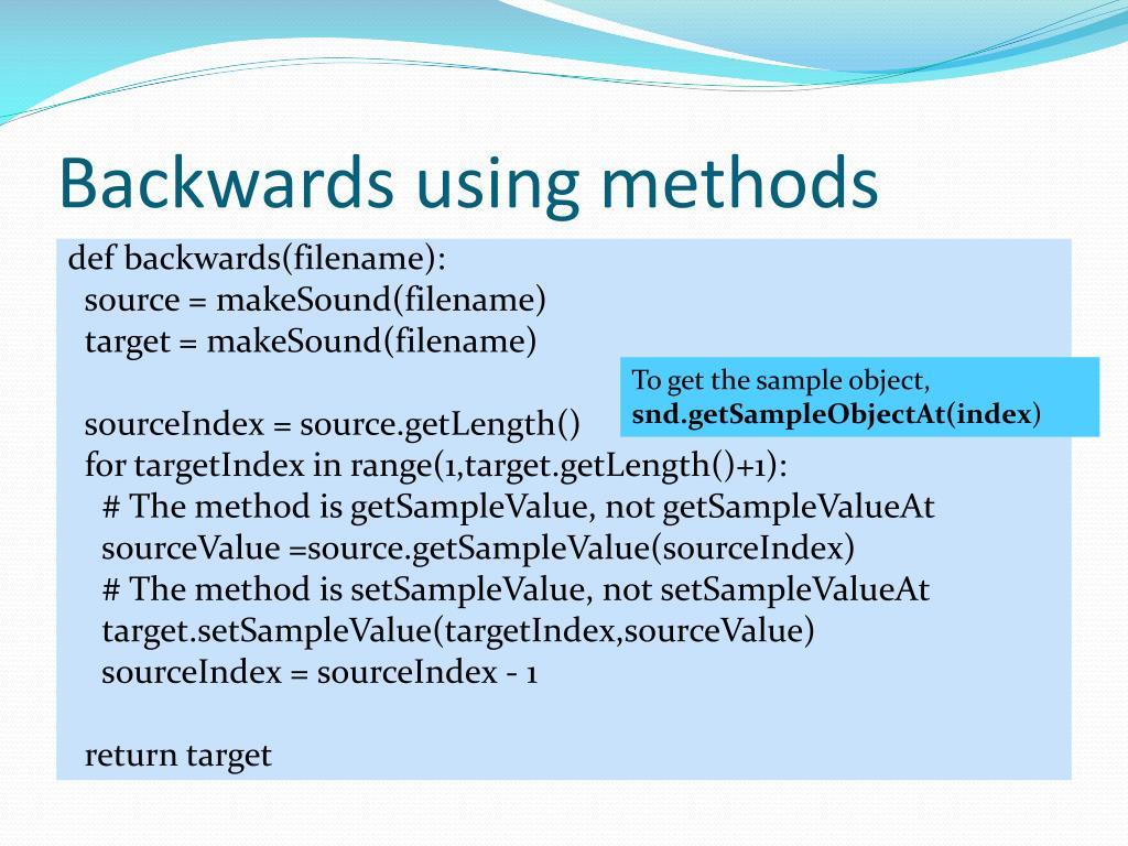 Backwards using methods