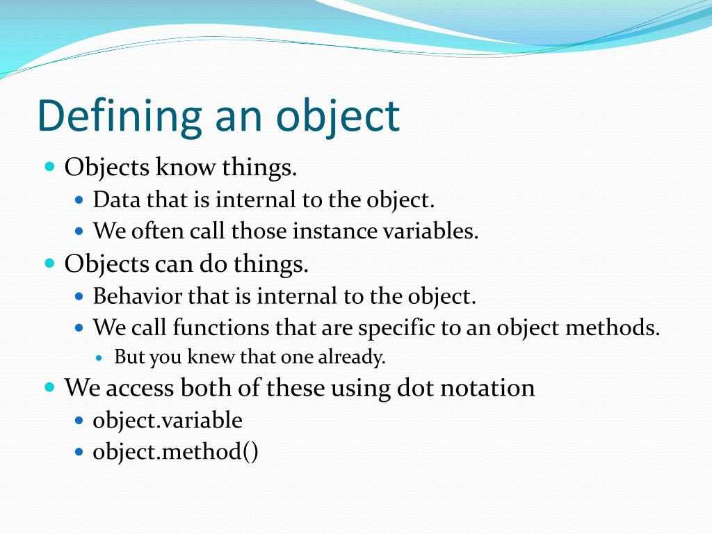 Defining an object