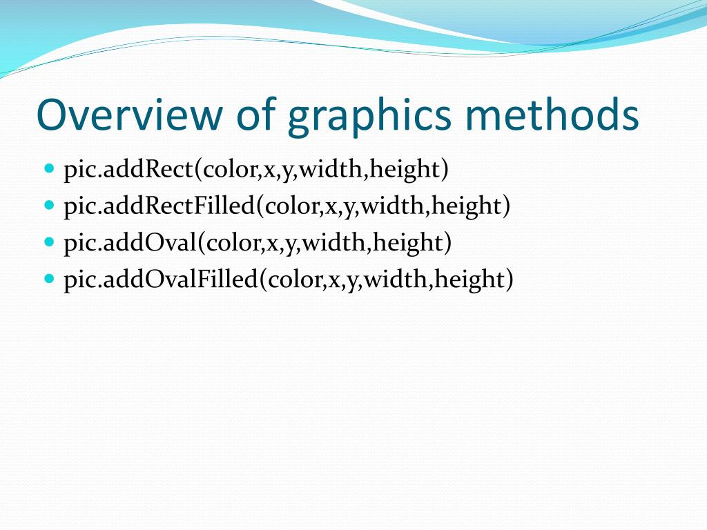 Overview of graphics methods