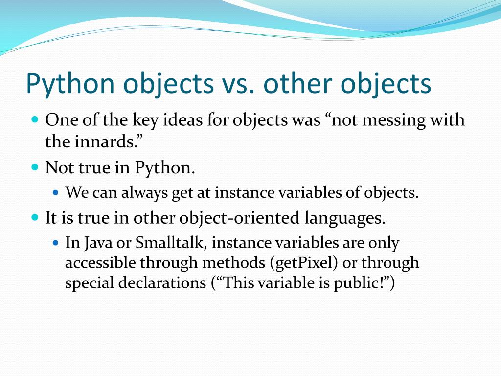 Python objects vs. other objects