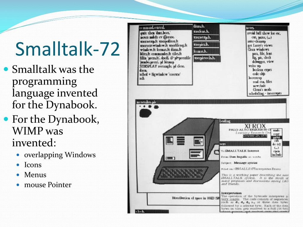 Smalltalk was the programming language invented for the Dynabook.