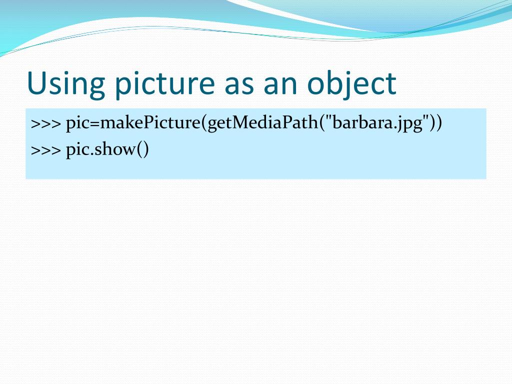 Using picture as an object
