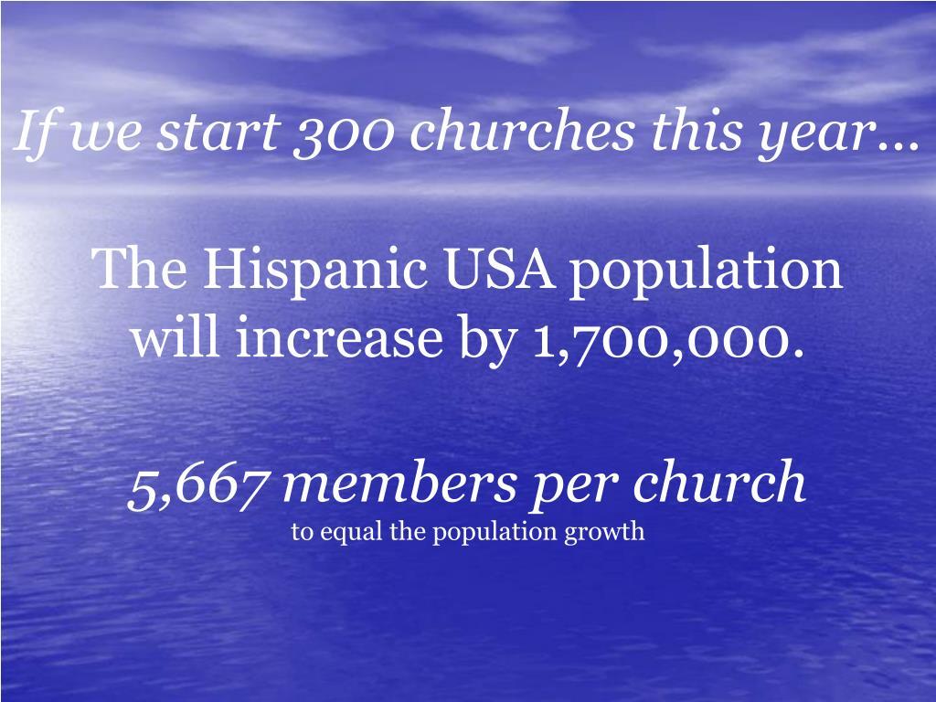 If we start 300 churches this year...