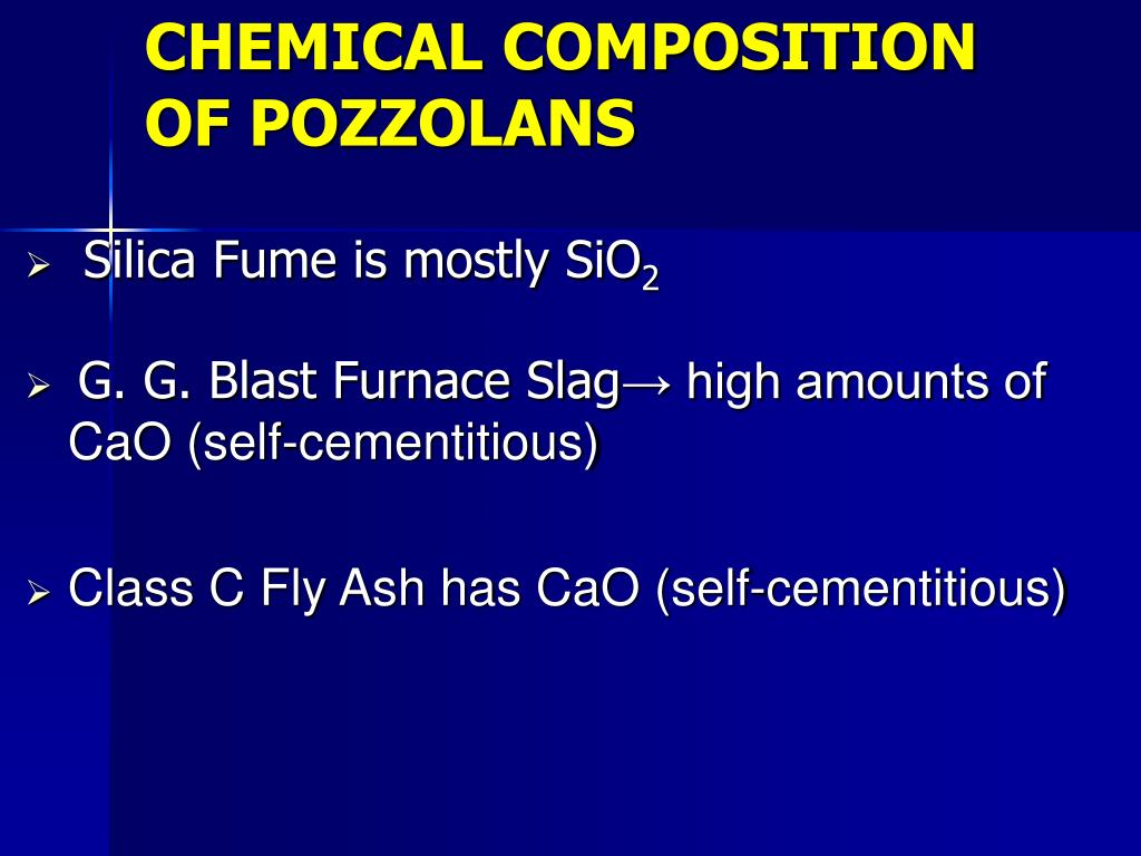 CHEMICAL COMPOSITION OF POZZOLANS