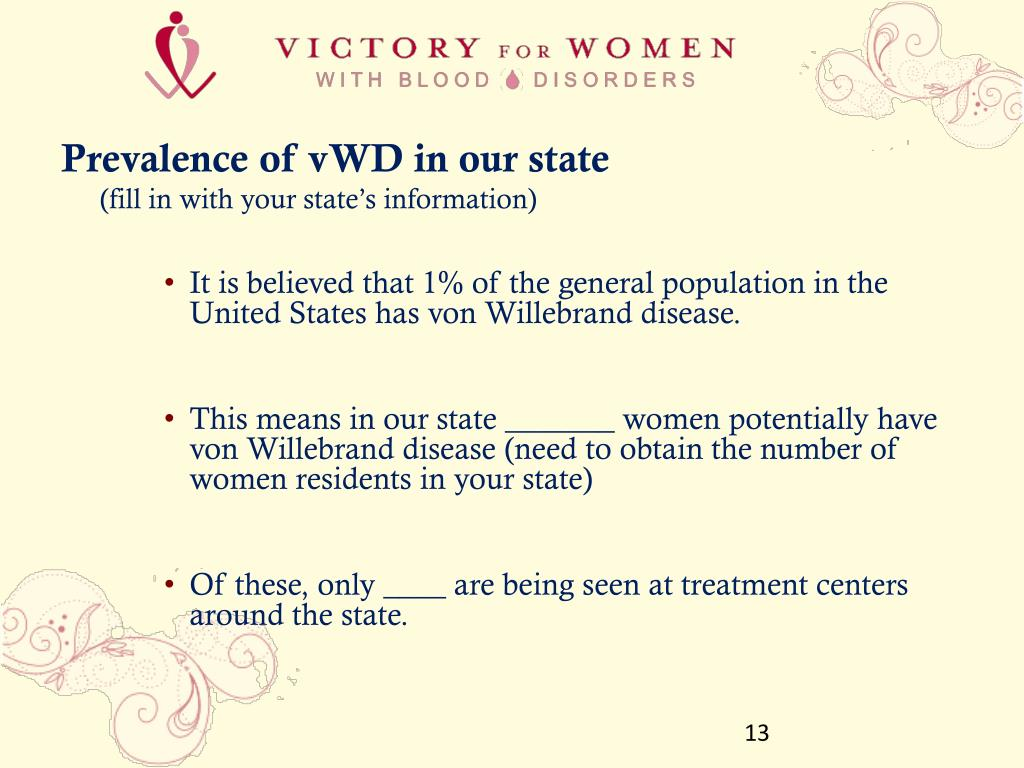 Prevalence of vWD in our state