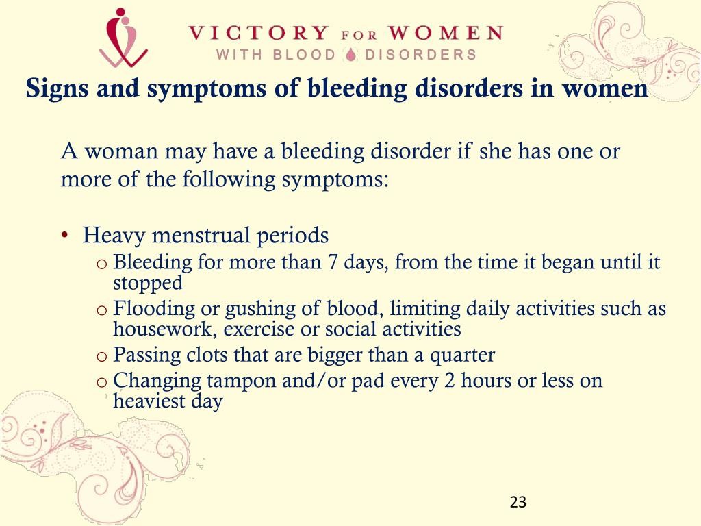 Signs and symptoms of bleeding disorders in women