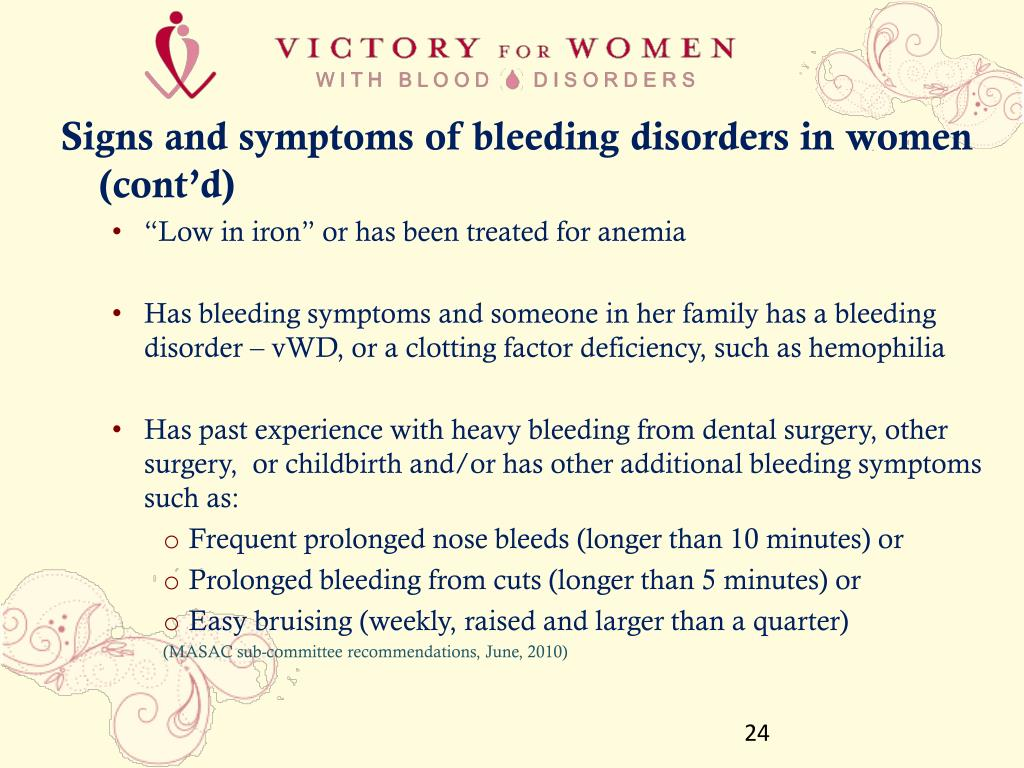 Signs and symptoms of bleeding disorders in women (cont'd)