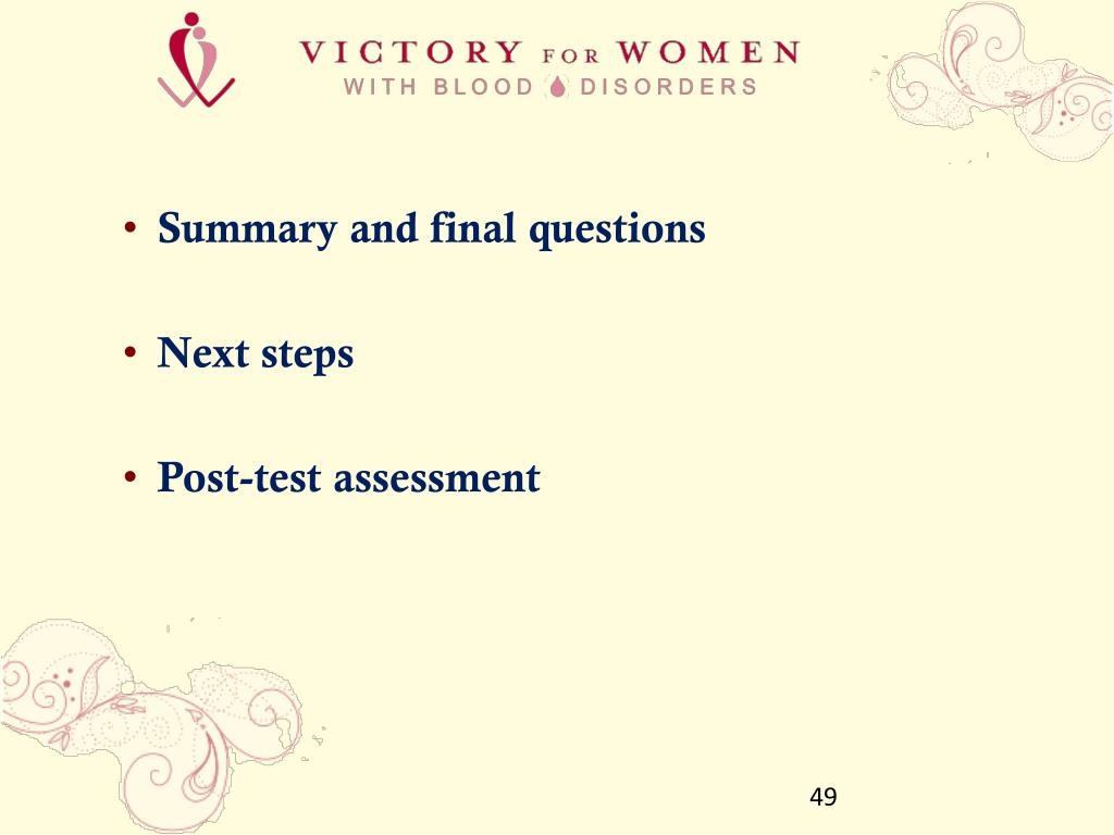 Summary and final questions
