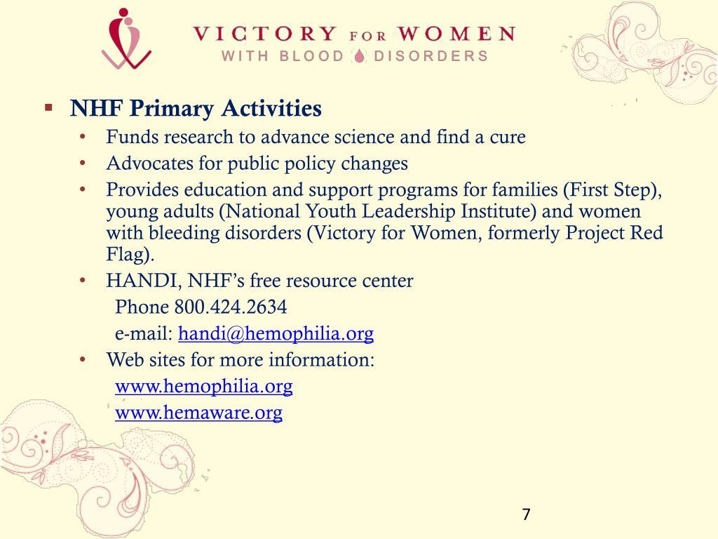 NHF Primary Activities
