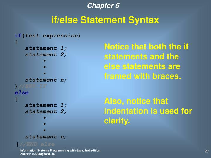 if/else Statement Syntax