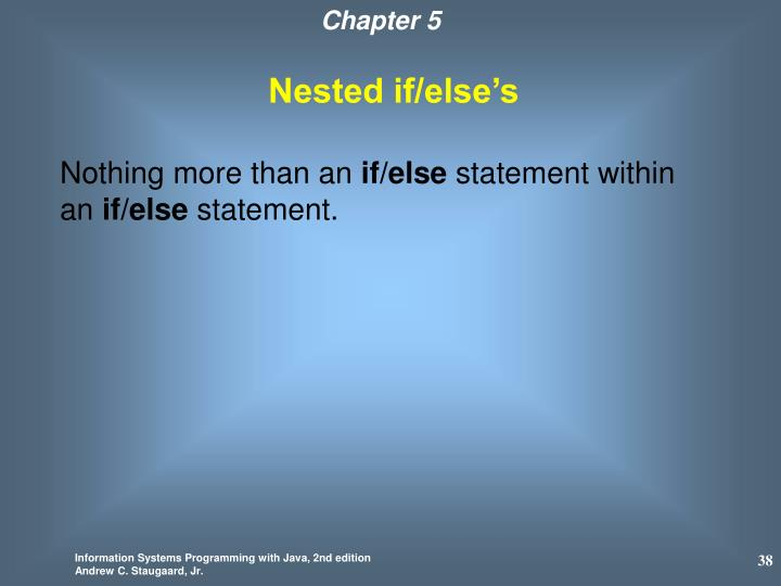 Nested if/else's