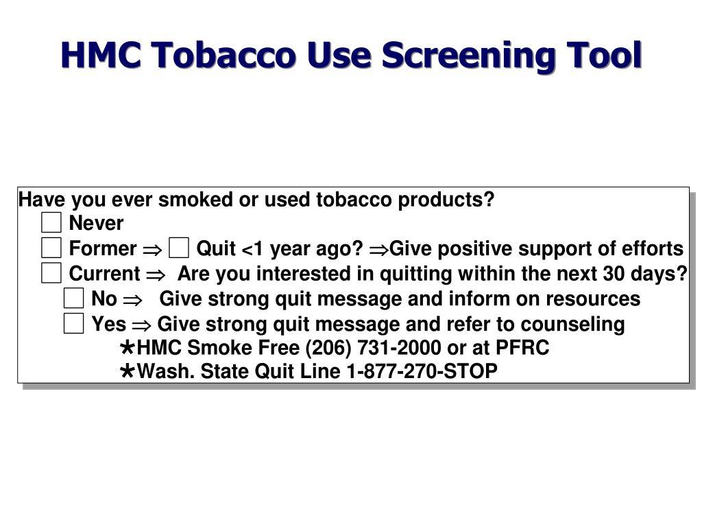 HMC Tobacco Use Screening Tool