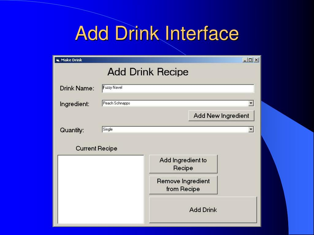 Add Drink Interface