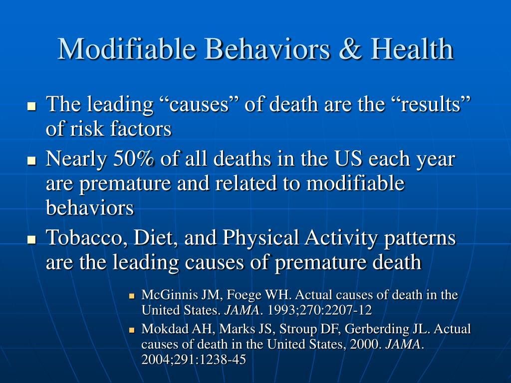 Modifiable Behaviors & Health