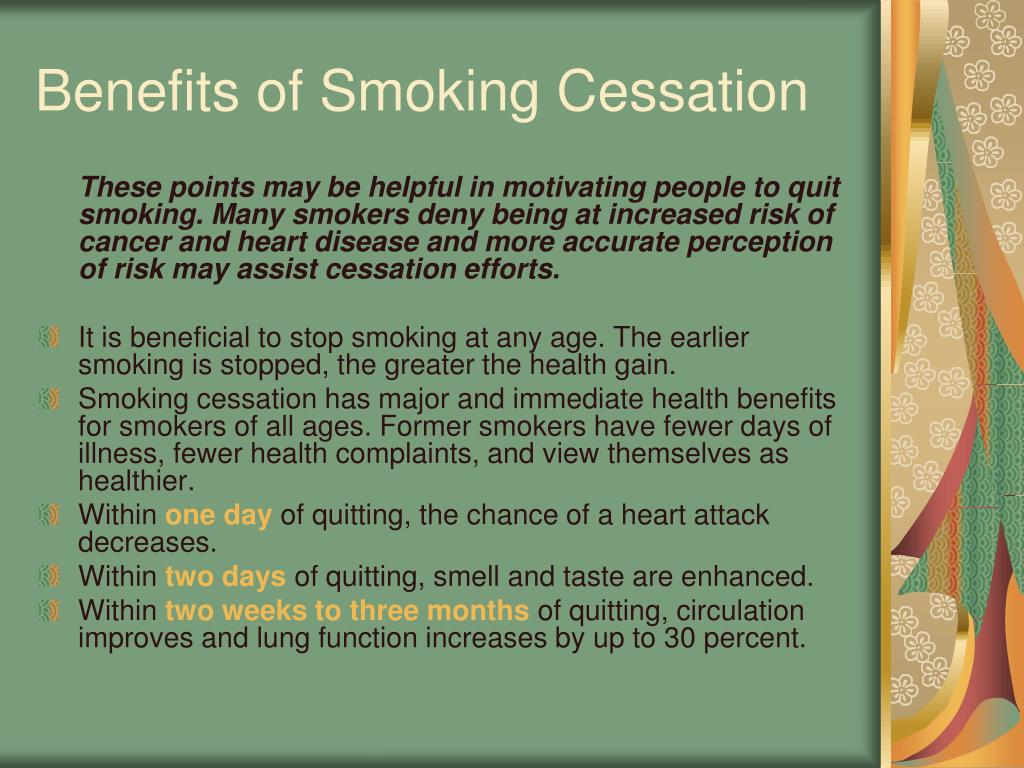 Benefits of Smoking Cessation