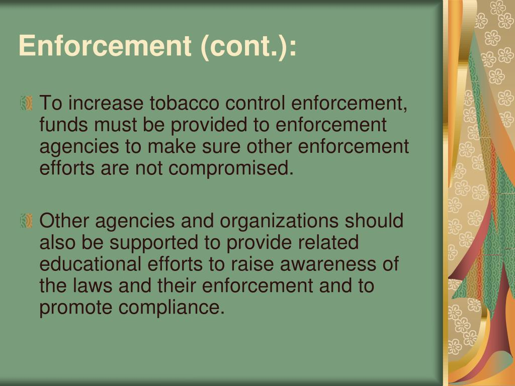 Enforcement (cont.):