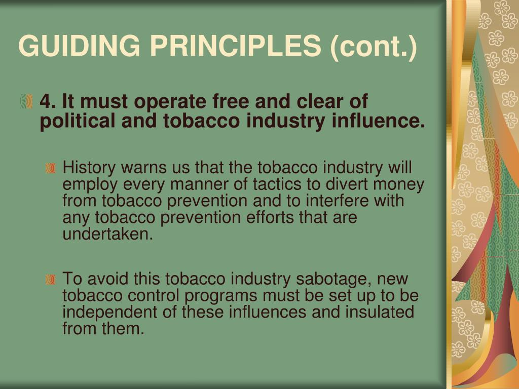 GUIDING PRINCIPLES (cont.)