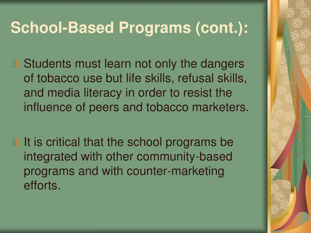 School-Based Programs (cont.):