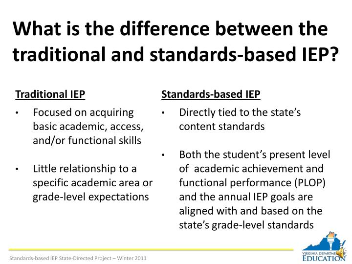 What is the difference between the traditional and standards based iep l.jpg