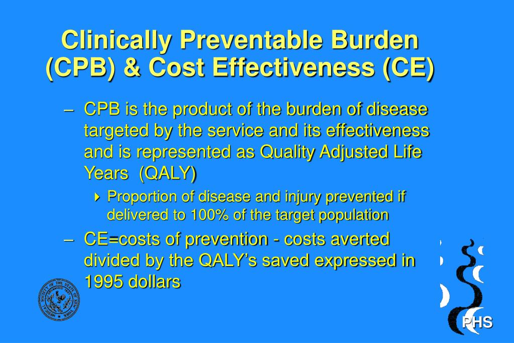 Clinically Preventable Burden (CPB) & Cost Effectiveness (CE)