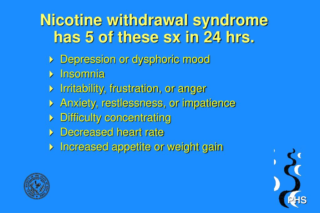 Nicotine withdrawal syndrome has 5 of these sx in 24 hrs.