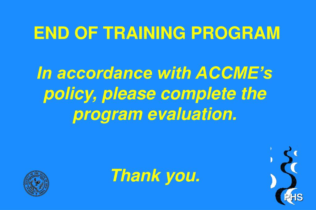 END OF TRAINING PROGRAM