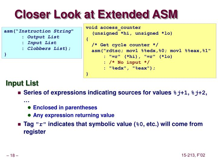 Closer Look at Extended ASM