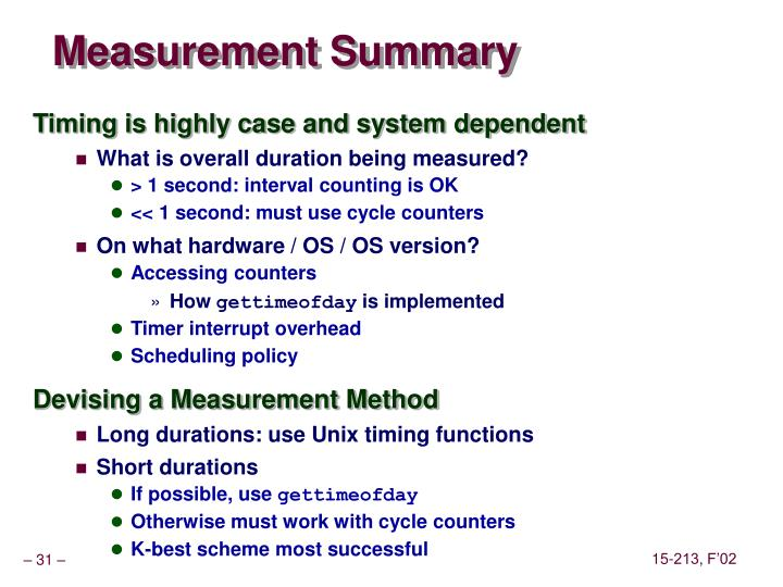 Measurement Summary