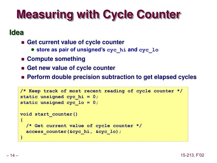 Measuring with Cycle Counter