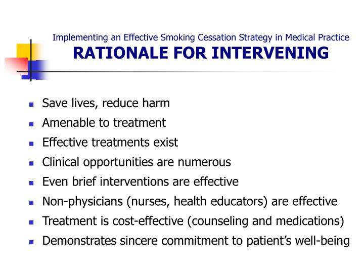 Implementing an effective smoking cessation strategy in medical practice rationale for intervening