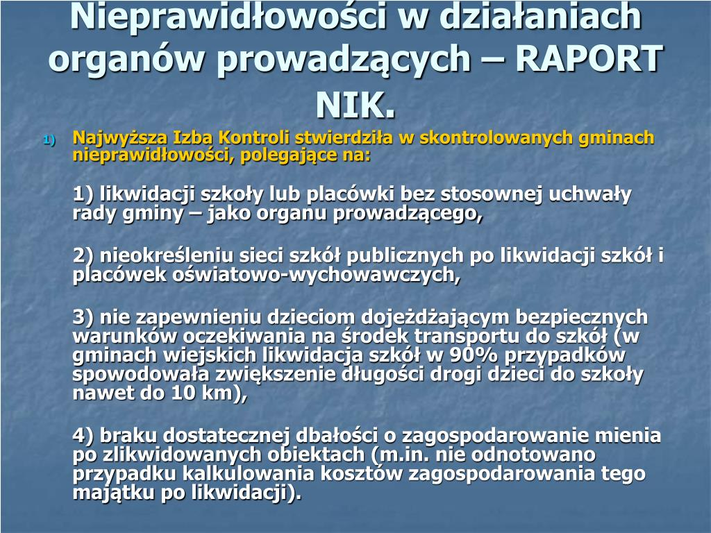 Nieprawidłowości w działaniach organów prowadzących – RAPORT NIK
