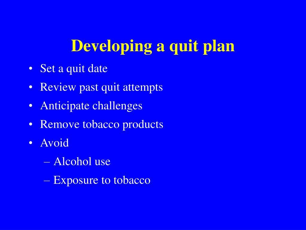 Developing a quit plan