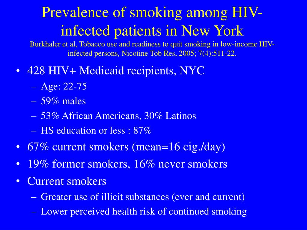 Prevalence of smoking among HIV-infected patients in New York