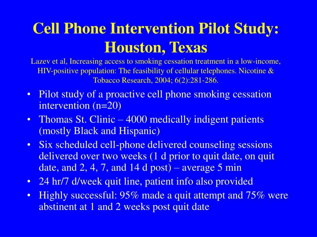 Cell Phone Intervention Pilot Study: Houston, Texas