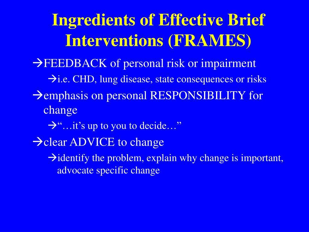 Ingredients of Effective Brief Interventions (FRAMES)