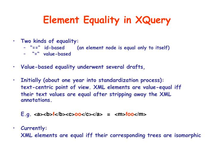 Element Equality in XQuery