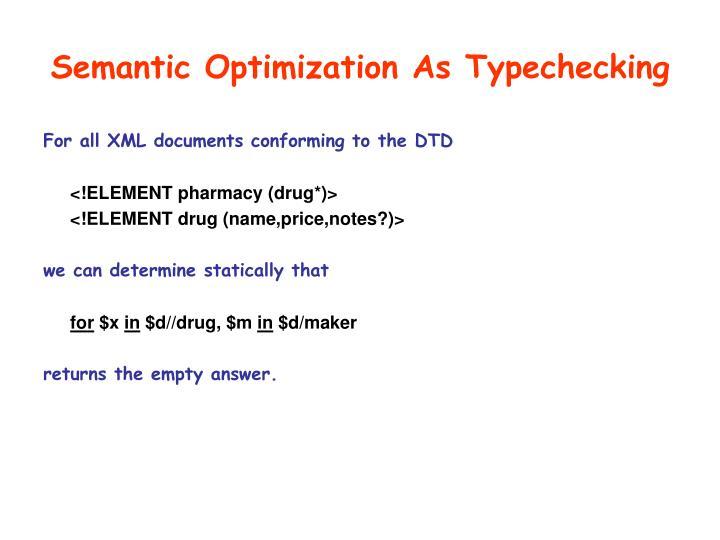 Semantic Optimization As Typechecking