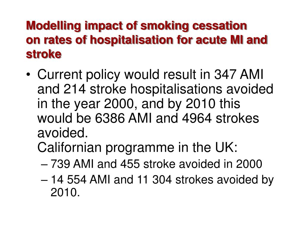 Modelling impact of smoking cessation