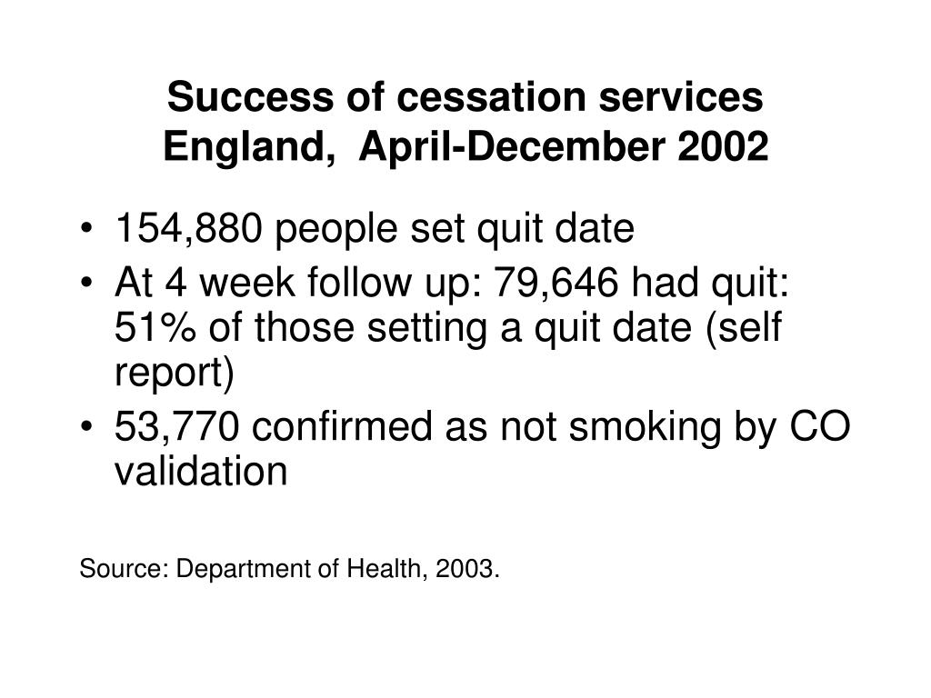 Success of cessation services