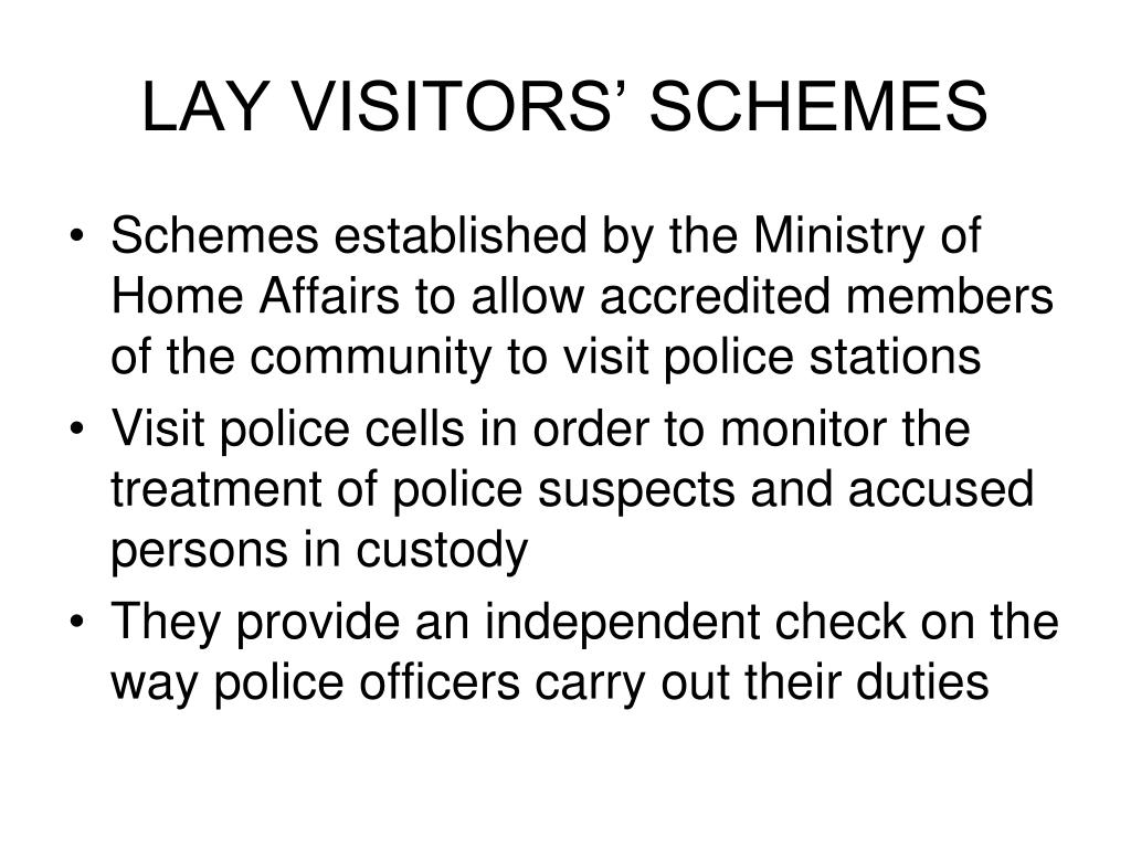 LAY VISITORS' SCHEMES