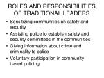 roles and responsibilities of traditional leaders