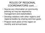 roles of regional coordinators cont