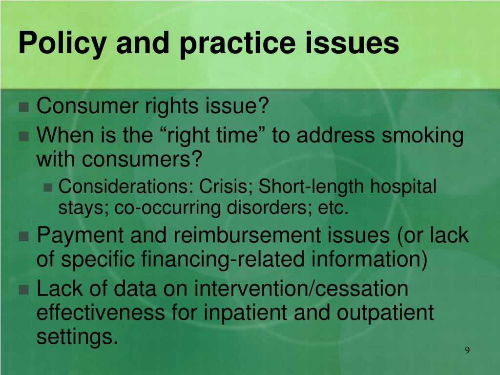 Policy and practice issues