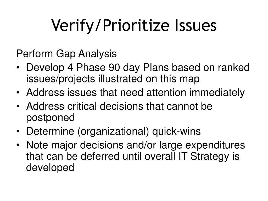 Verify/Prioritize Issues