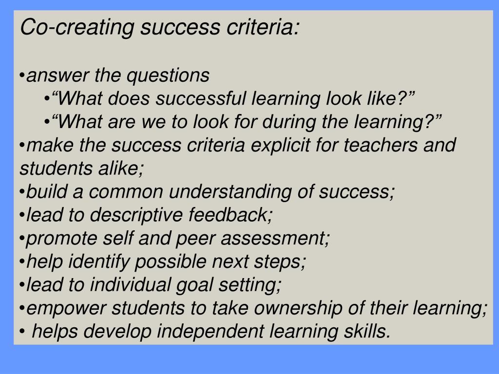Co-creating success criteria: