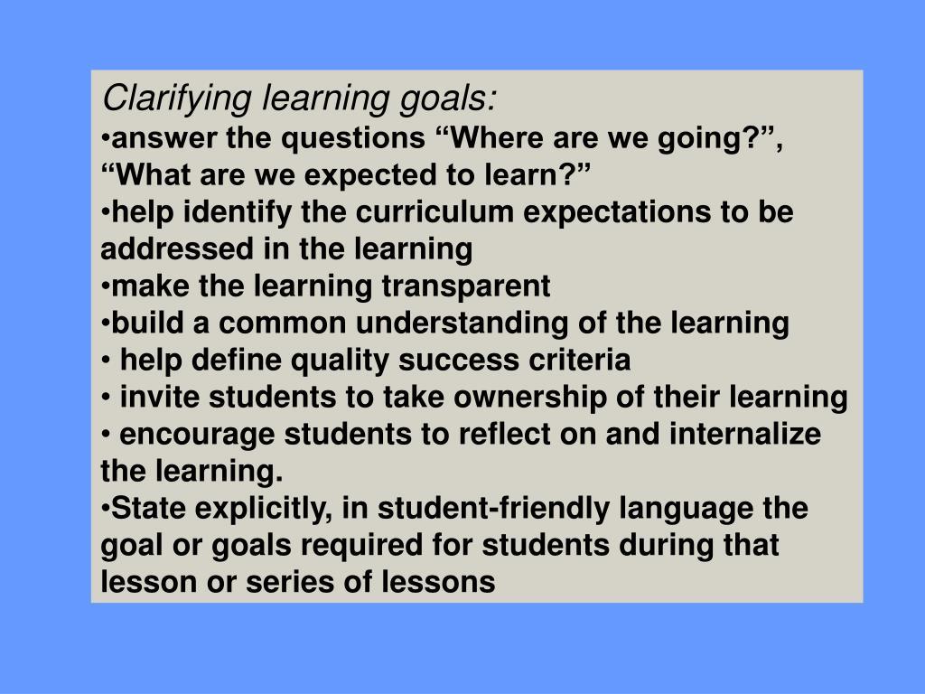 Clarifying learning goals: