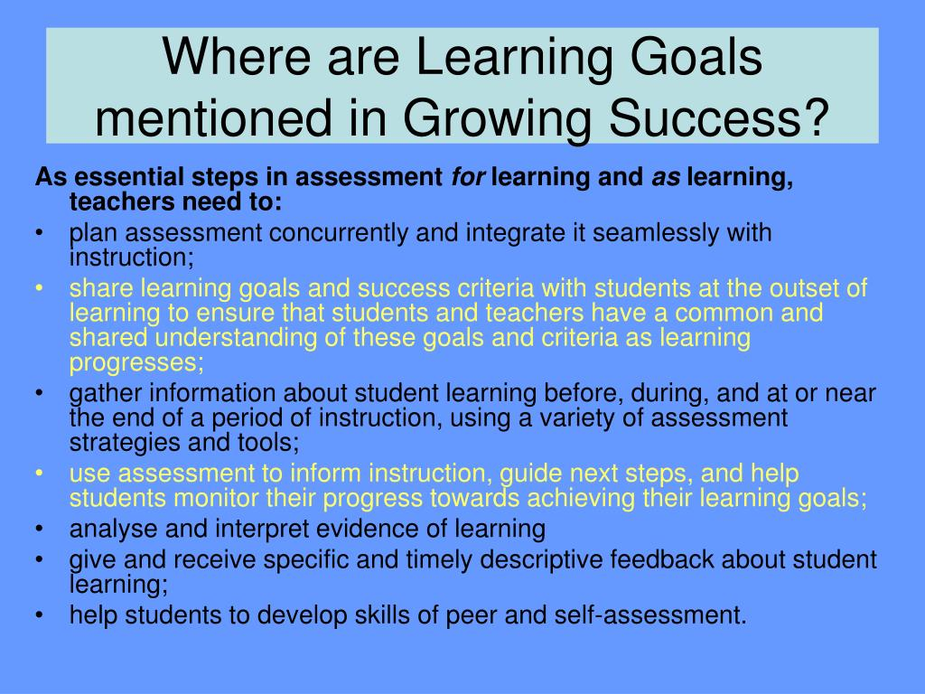 Where are Learning Goals mentioned in Growing Success?