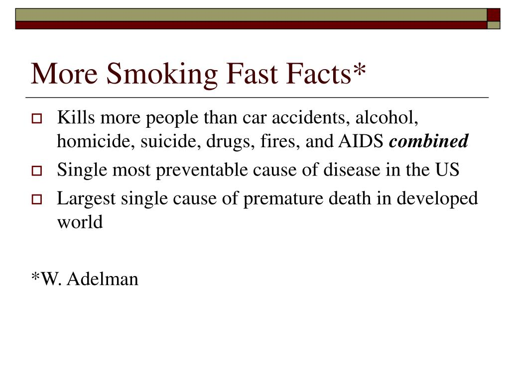 More Smoking Fast Facts*