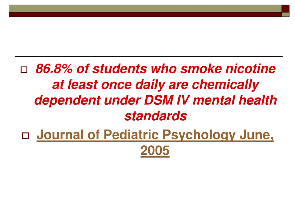 86.8% of students who smoke nicotine at least once daily are chemically dependent under DSM IV mental health standards