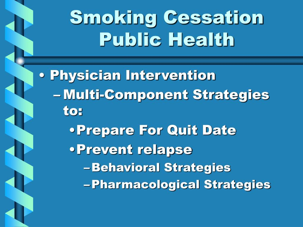 the impact of smoking cessation intervention by While smoking initiation is quite unlikely in older never smokers, smoking cessation in baseline smokers and relapses in former smokers are likely, leading to an underestimation of the effects of smoking and the benefits of quitting32 the true associations of smoking and smoking cessation with cardiovascular outcomes are.